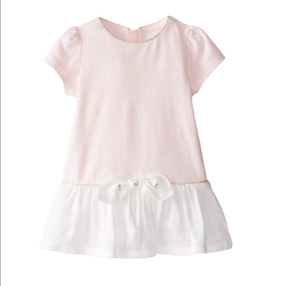 Chloe Other - Chloé Baby Girls' Jersey and Woven Bicolor Dress